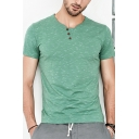 Mens Fancy Simple Button Round Neck Short Sleeve Casual Fitted T-Shirt
