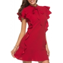 Womens Hot Sale Plain Bow-Neck Ruffle Trim Sleeve A-Line Mini Petite Dress