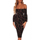 Stylish Hot Sexy Off Shoulder Long Sleeves Chain Print Black Fitted Midi Dress for Nightclub