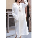 Vintage Solid Color V Neck Long Sleeve Pocket Front Split Side Casual Loose Maxi Cotton Linen Dress