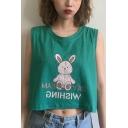 Girls Summer Cute Cartoon Rabbit Doll Print Round Neck Sleeveless Crop Tank Top