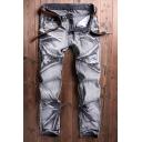 Men's Cool Fashion Unique Denim Washed Zipper Embellished Trendy Biker Jeans