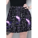 Womens Stylish Black Elastic Waist Letter Galaxy Print Mini Skater Skirt