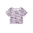 New Trendy Womens Retro Purple Newspaper Print Round Neck Short Sleeve Crop Tee
