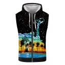 Summer Mens Hot Trendy Sleeveless Black Starry Dropped Oil Painting Coconut Print Zip Up Hooded Tank