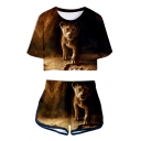 The Lion King 3D Print Short Sleeve Crop Tee with Dolphin Shorts Sport Two-Piece Set