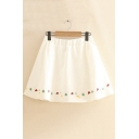 Womens Stylish Hot Sale Strawberry Embroidered Elastic Waist Sweet A-Line Mini Skirt