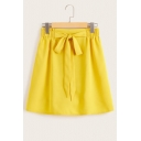 Summer Trendy Yellow Bow-Tie Sweet A-Line Mini Skirt for Women