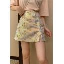 Sweet Womens Fashion Star Sequin Print Slit Side High Waist Mini A-Line Skirt