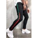 Men's New Stylish Colorblock Stripe Side Black Slim Fit Jeans