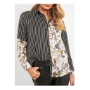 Hot Stylish Striped Chain Printed Long Sleeve Button Front V Neck Loose Shirts