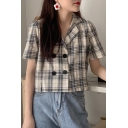 Chic Hot Fashion Check Print Double Button Front Lapel Collar Short Sleeve Sweet Shirts