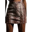 Hot Fashion Womens Snake Print Lace Up Cutout A-Line Mini Skirt