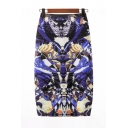 Summer Hot Stylish Blue Cartoon Print High Waist Midi Pencil Skirt