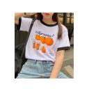 Summer Hot Fashion Contrast Trim Short Sleeve Letter Iagruna! Orange Printed Chic T-Shirts