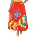 Summer Womens Hot Stylish High Waist Tribal Print Pleated A-Line Midi Flare Skirt