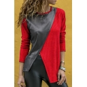 New Arrival Womens Fashion Round Neck Long Sleeve Patchwork Slit Hem T-Shirts