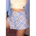 Summer Hot Fashion Sexy Check Print Button Front A-Line Mini Skirt