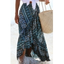 Summer Hot Fashion Self-Tie Boho Tribal Print Split Ruffle Hem Midi Beach Skirt