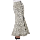 Summer Hot Stylish High Waist Printed Lace Up Front Bodycon Maxi Fishtail Skirt