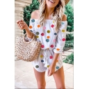 Summer Hot Stylish White Polka Dot Print Off Shoulder Long Sleeve Drawstring Waist Knit Rompers