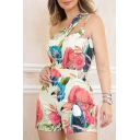 Womens Hot Stylish Floral Printed One Shoulder Sleeveless Holiday Skinny Rompers