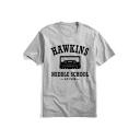 HAWKINS MIDDLE SCHOOL Print Round Neck Short Sleeve Cotton Loose Tee