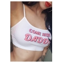 COME HERE DADDY Letter Print Slim Fitted Crop Cami Top