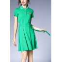 Summer Popular Plain Short Sleeve Button Front Neck Cat Printed Mini A-Line Polo Dress