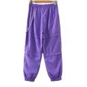 Summer Hot Stylish Plain Elastic Cuff Eyelet Chain Embellished Loose Pants