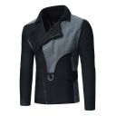 Mens Unique Stylish Patchwork Lapel Collar Long Sleeve Zip Up Fitted Jacket