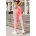 Womens Fashion Simple Color Pocket Back Skinny Fitted Sport Legging Pants