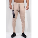 Men's Popular Fashion Letter Printed Zipped Pocket Drawstring Waist Casual Slim Sports Sweatpants