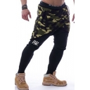 Men's New Fashion Cool Camouflage Letter AW Printed Casual Slim Sports Sweatpants