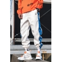 Guys Street Trendy Colorblock Letter Printed Drawstring Waist Elastic Cuffs Casual Loose Hip Pop Track Pants