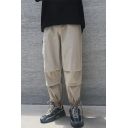 New Stylish Simple Plain Pleated Detail Drawstring Cuffs Men's Casual Loose Sports Tapered Pants
