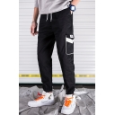 Guys Trendy Contrast Flap Pocket Side Drawstring Waist Casual Cotton Cargo Pants