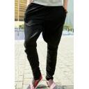 Men's Popular Fashion Simple Plain Zipped Pocket Behind Baggy Pleated Low Crotch Harem Pants