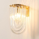 Gold Candle Wall Light with U Shaped Shade Single Light Modern Wall Lamp for Bedroom Living Room