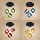 Metal Cube Cage Pendant Light Restaurant Three Lights Retro Loft Pendant Lamp in Blue/Green/Red/Yellow