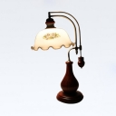 Vintage Stylish White Table Light Flower Shade 1 Light Milk Glass Wood Table Lamp for Office