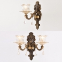 Clear Flower Wall Light with Crystal 1/2 Heads Vintage Style Glass Sconce Light in Antique Brass for Hotel