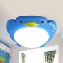 Cute Cartoon Penguin Flush Mount Light PVC Ceiling Light for Boys Girls Bedroom Hallway