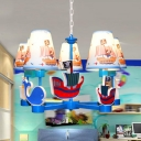 Kindergarten Ship Hanging Light Wood 5 Lights Nautical Style Blue Chandelier with Pirate