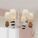 Animal Bear Ceiling Pendant Six Lights Resin Chandelier with Tapered Shade in White for Nursing Room