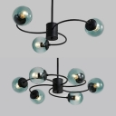 Traditional Modo Chandelier 3/6 Lights Glass Pendant Light in Black for Bedroom Study Room