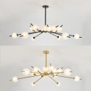Contemporary Modo Chandelier Light 18 Lights Metal Glass Hanging Light in Black/Gold for Cloth Shop
