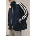 Simple Letter CHINESE Striped Long Sleeve Stand Collar Zip Up Loose Fitted Unisex Track Jacket