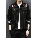 Guys Chic Bird Embroidery Contrast Piping Long Sleeve Button Down Black Short Denim Jacket