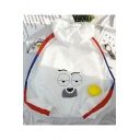 Funny Cartoon Printed Back Striped Long Sleeve Zip Up Hooded Sun Protection White Jacket Coat